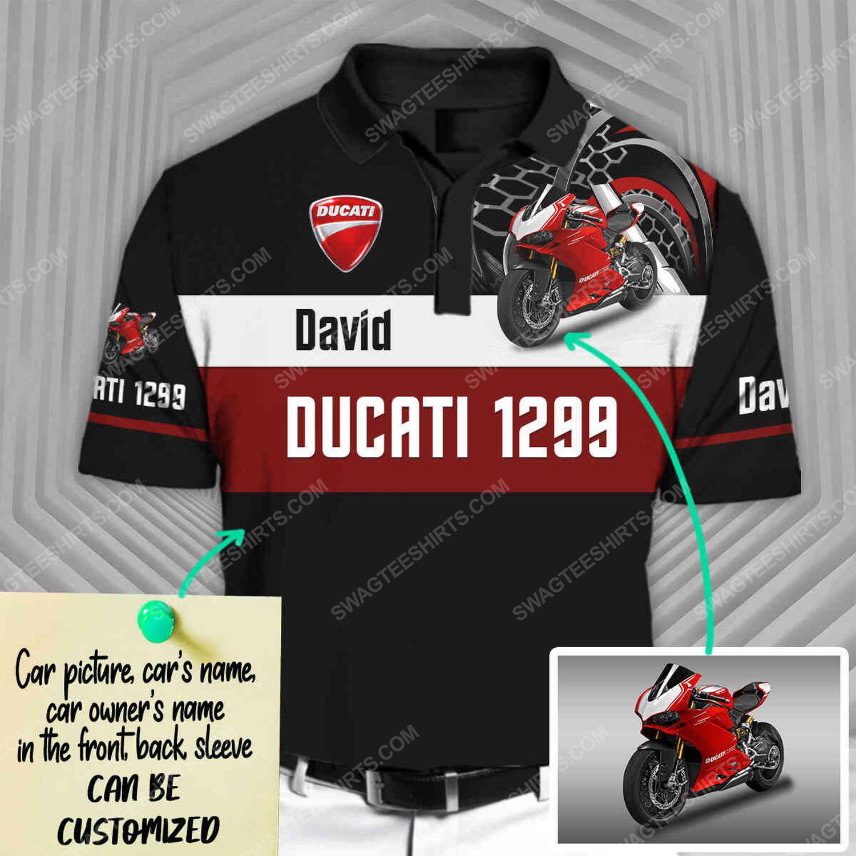 Custom ducati sports car racing all over print polo shirt