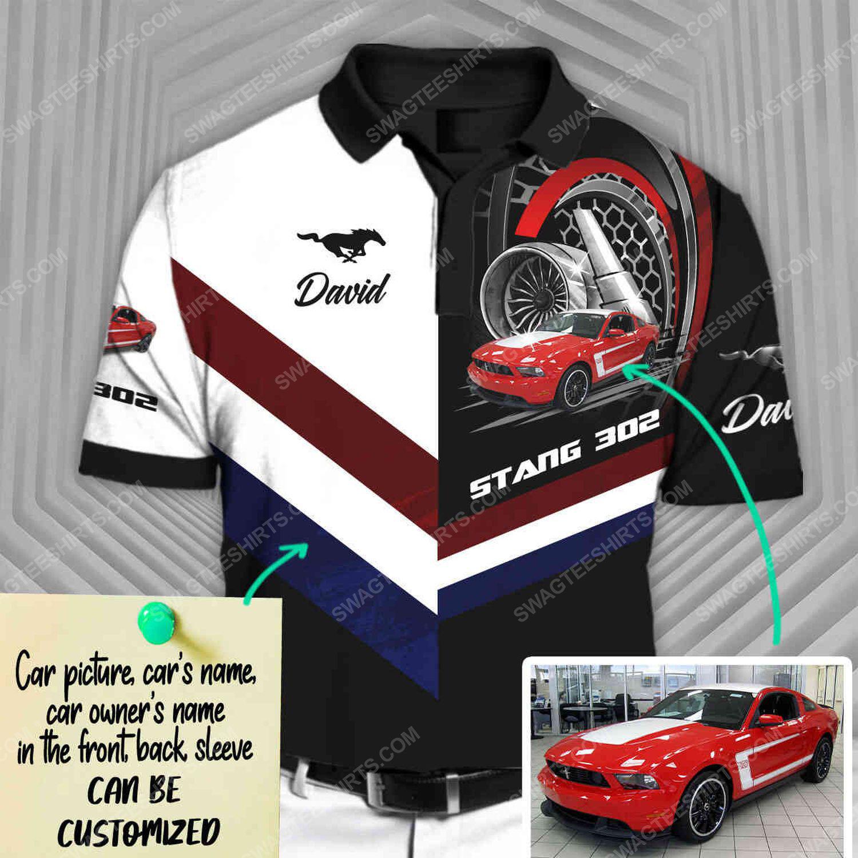 Custom ford mustang sports car racing all over print polo shirt