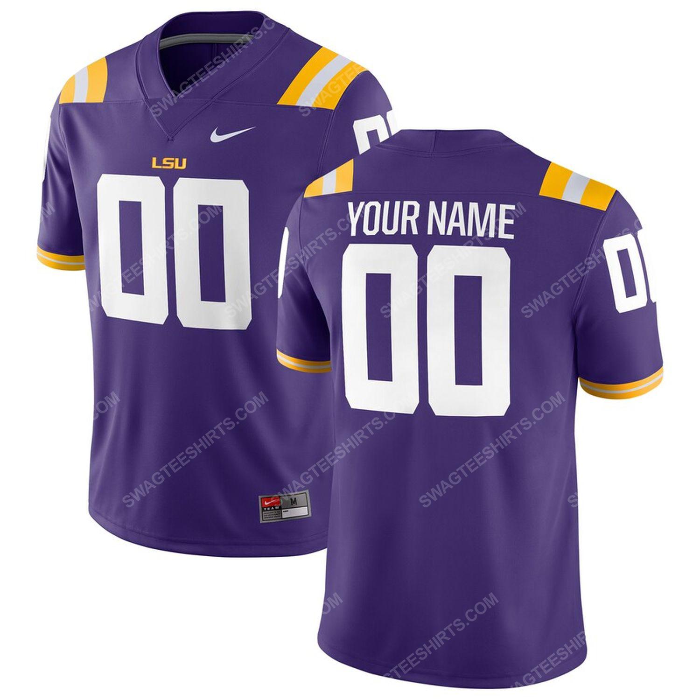 Custom lsu tigers football team full print football jersey - purple