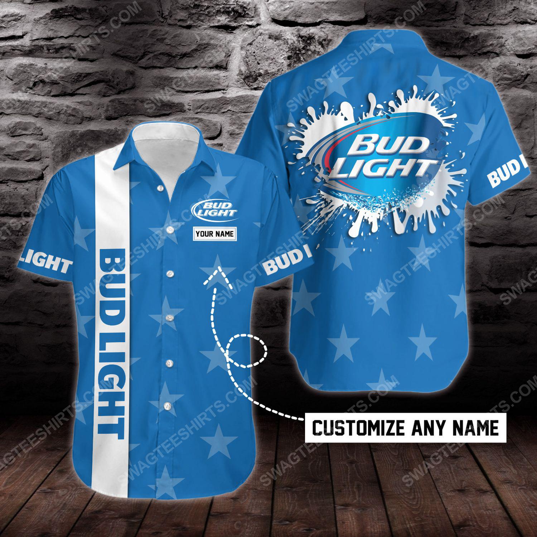 Custom name bud light beer short sleeve hawaiian shirt 1