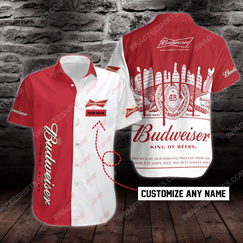 Custom name budweiser beer short sleeve hawaiian shirt 1