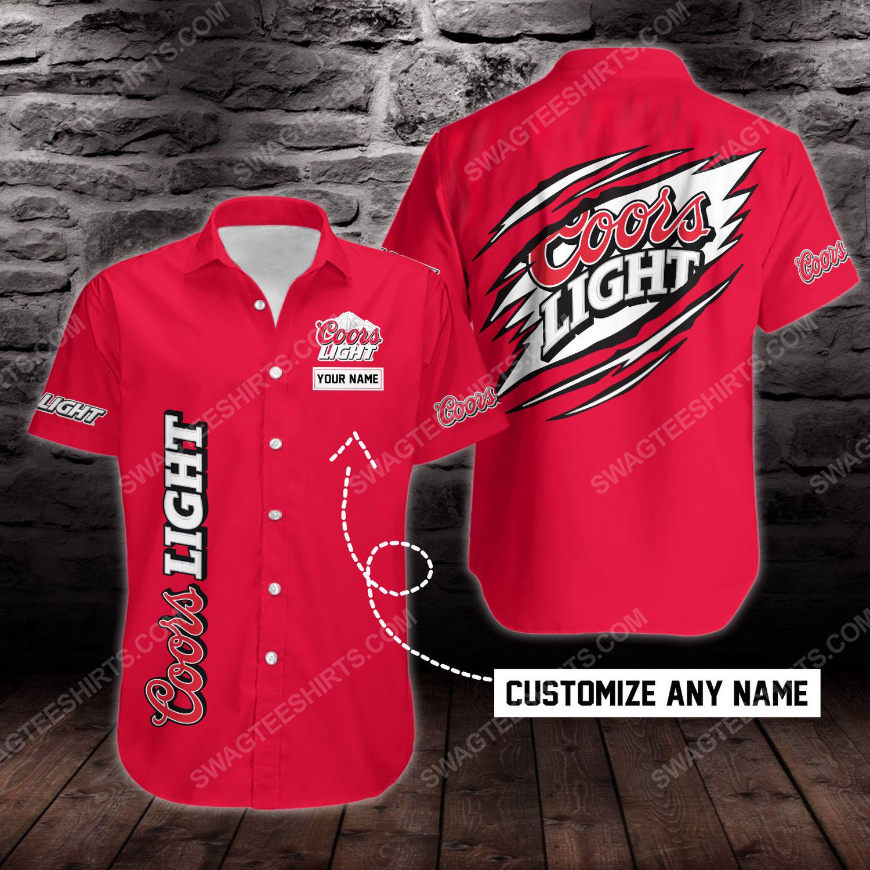Custom name coors light beer short sleeve hawaiian shirt 1