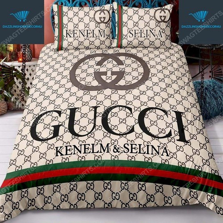Custom name gucci full print duvet cover bedding set 1