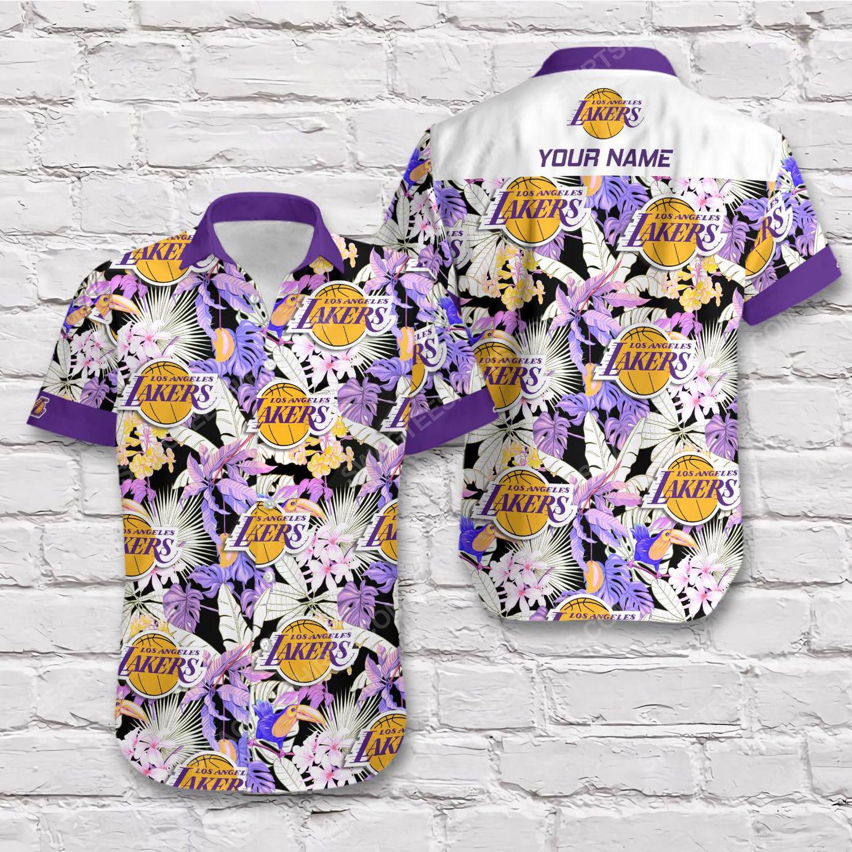 Custom name los angeles lakers short sleeve hawaiian shirt 1