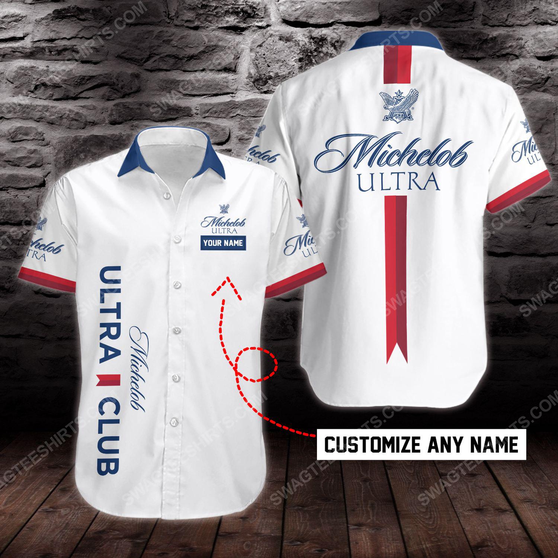 Custom name michelob ultra beer short sleeve hawaiian shirt 1