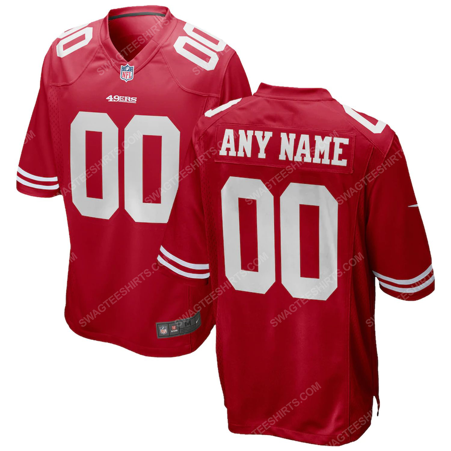 Custom name san francisco 49ers all over printed football jersey - scarlet