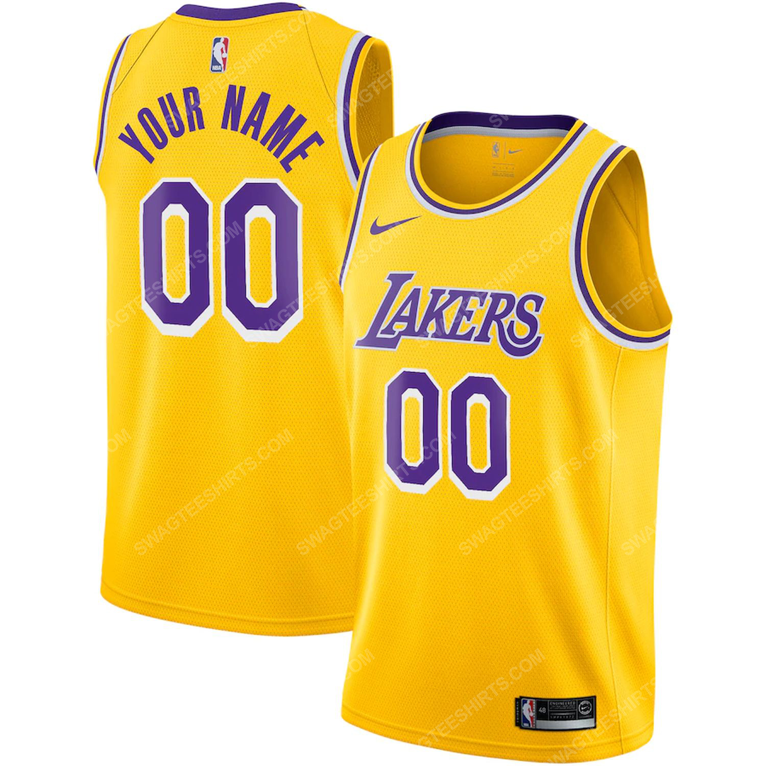 Custom nba los angeles lakers basketball jersey-icon edition- gold