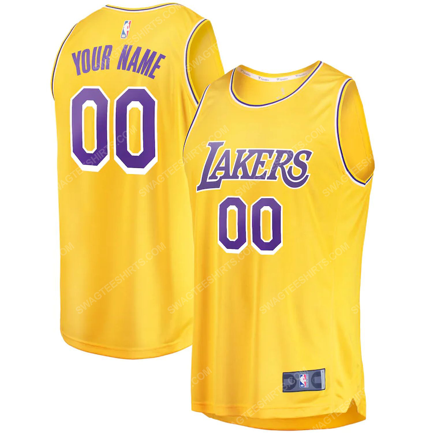 Custom nba los angeles lakers team basketball jersey-gold-icon edition