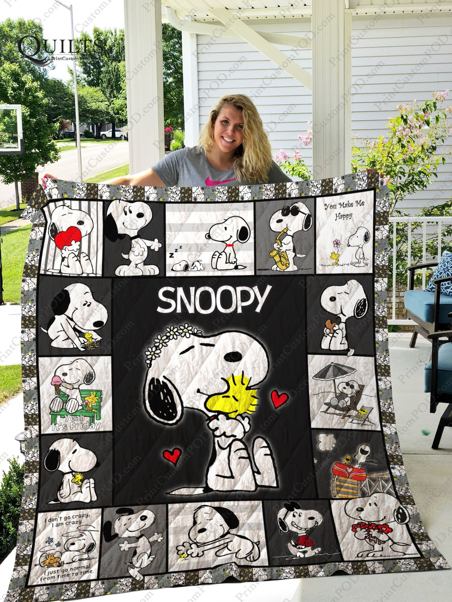 Peanuts snoopy and woodstock quilt blanket