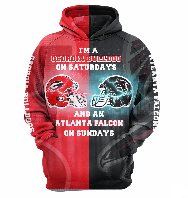 I'm a georgia bulldogs on saturdays and an atlanta falcons on sundays 3d hoodie - maria