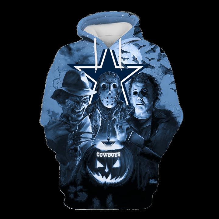 Dallas cowboys horror night hawaiian shirt and 3d hoodie 4