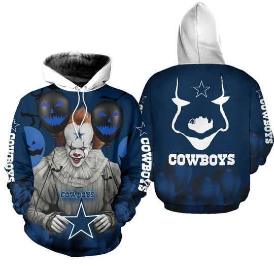 Dallas cowboys pennywise the dancing clown IT halloween 3d all over print hoodie - LIMITED EDITION