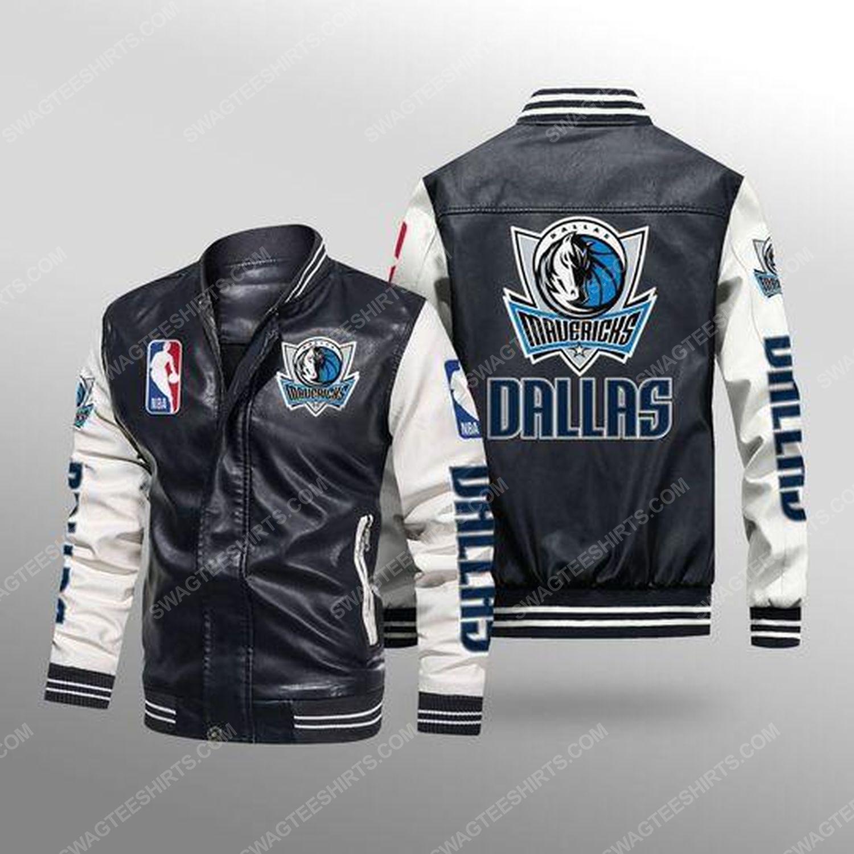 Dallas mavericks all over print leather bomber jacket - white
