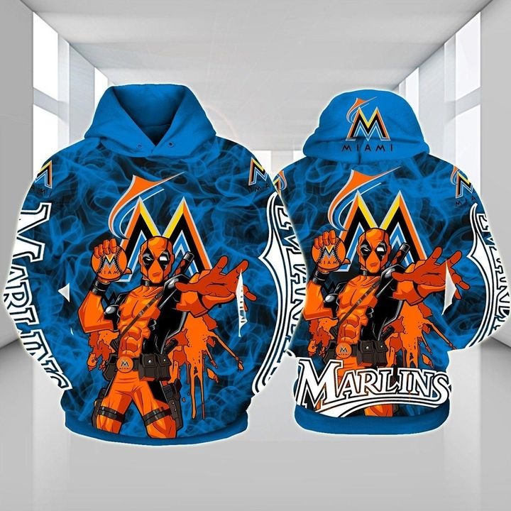 Deadpool Miami marlins 3d hoodie - LIMITED EDITION