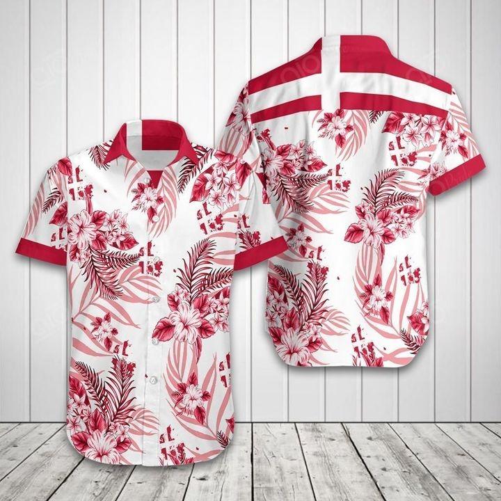 Denmark flag Tropical Short Sleeve Hawaiian Shirt