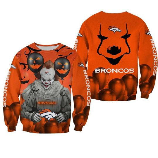 Denver broncos pennywise the dancing clown it halloween 3d all over print hoodie - LIMITED EDITION
