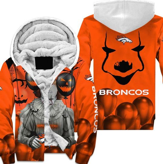 Denver broncos pennywise the dancing clown it halloween 3d all over print hoodie4