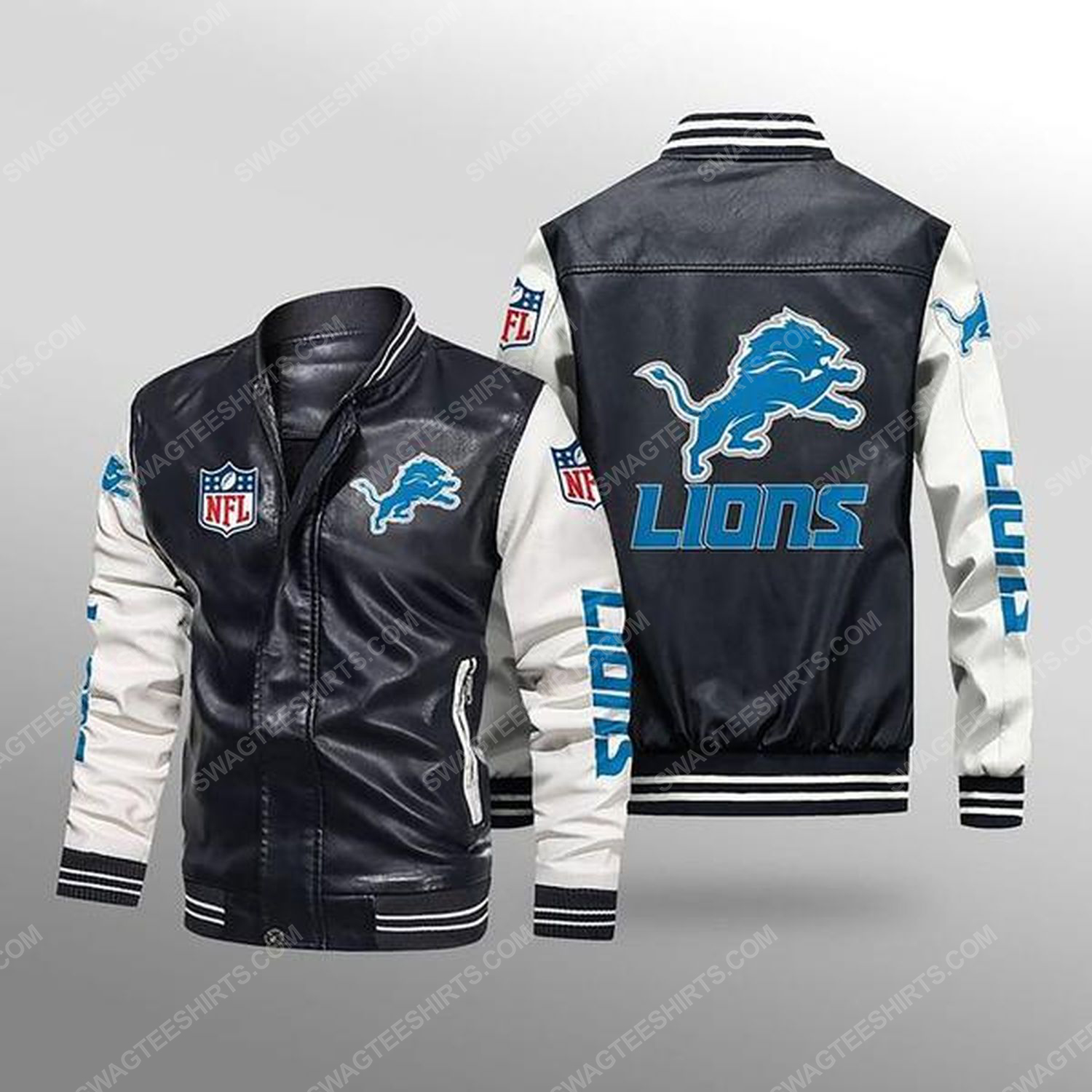 Detroit lions all over print leather bomber jacket - white