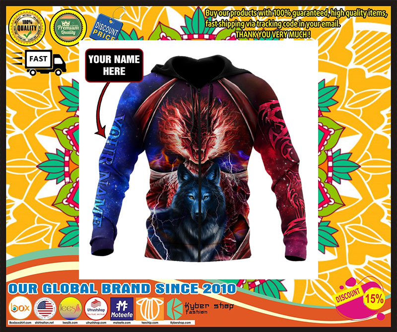 Dragon and wolf 3D custom name hoodie