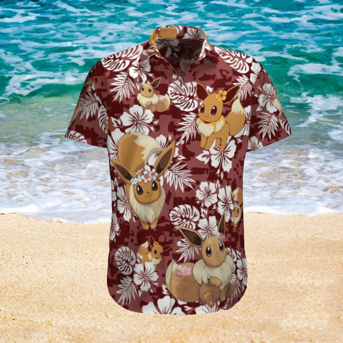 Eevee Pokemon Anime Summer Hawaiian shirt