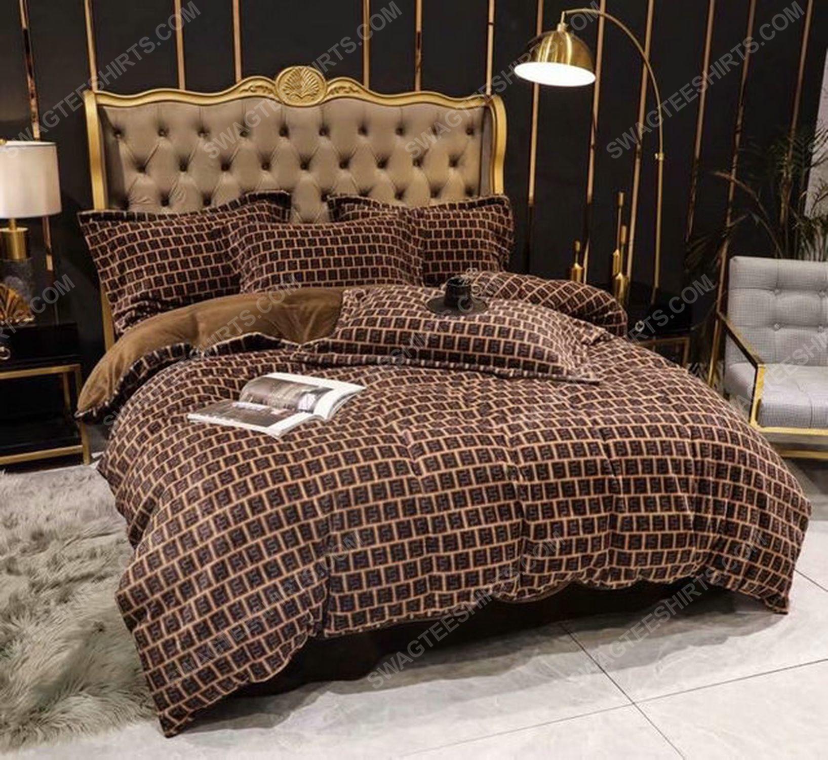 Fendi monogram symbols full print duvet cover bedding set 1