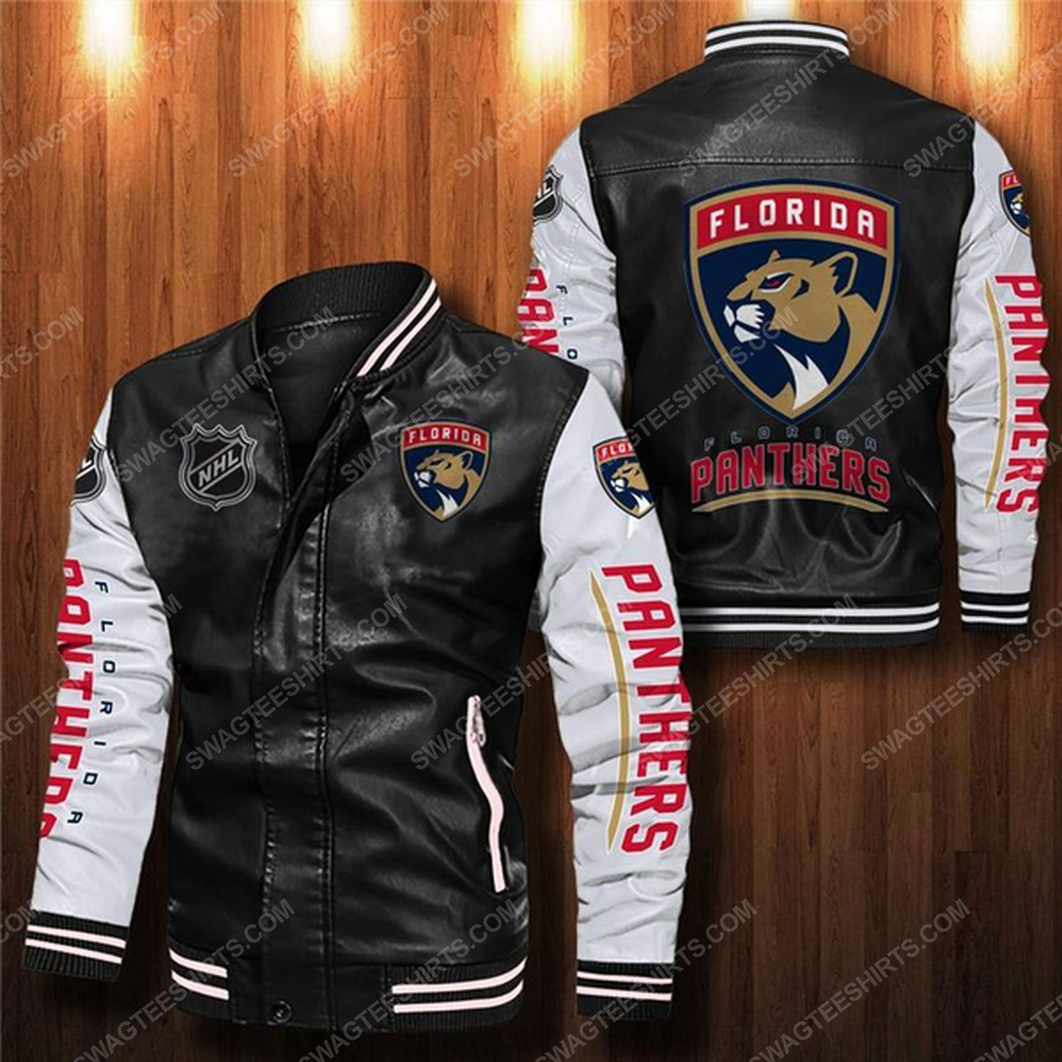 Florida panthers all over print leather bomber jacket - white