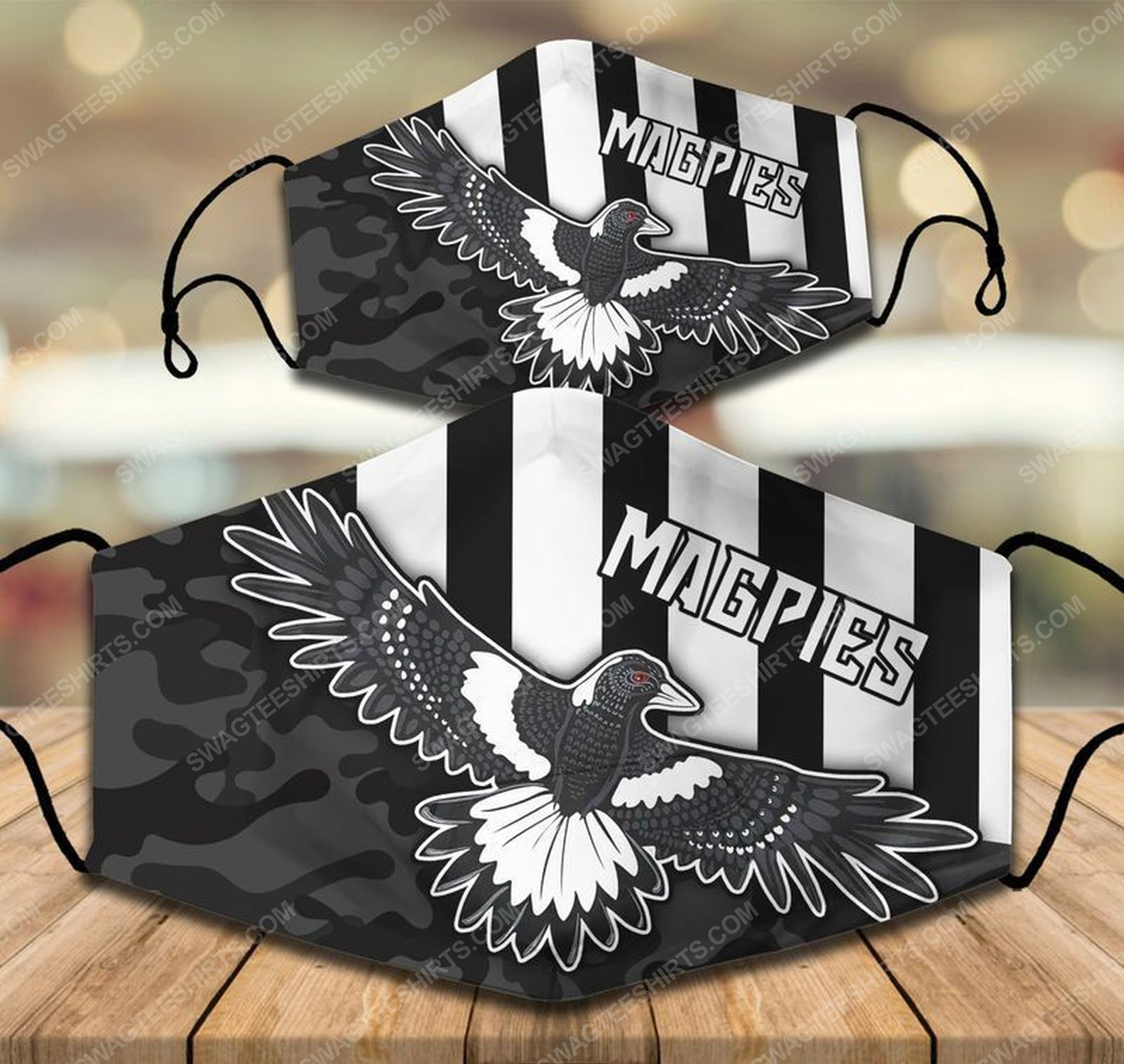 Football club collingwood magpies all over print face mask