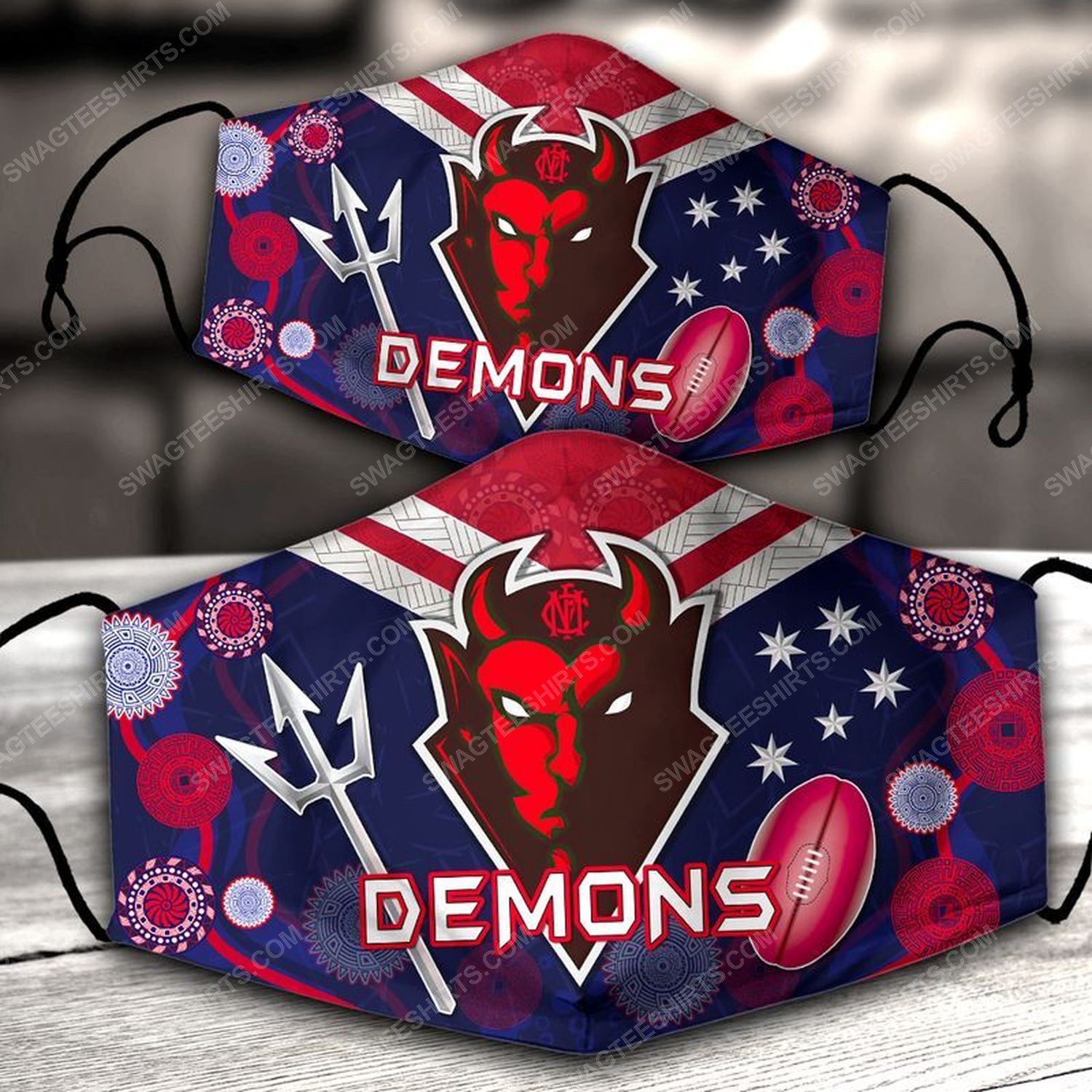 Football club melbourne demons all over print face mask