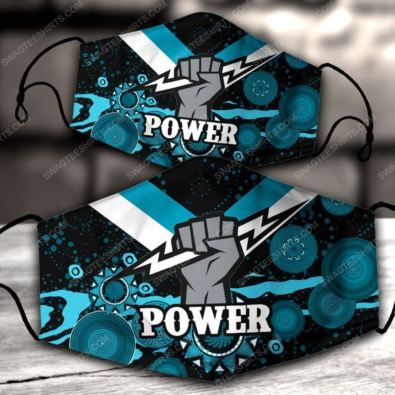 Football club port adelaide power all over print face mask