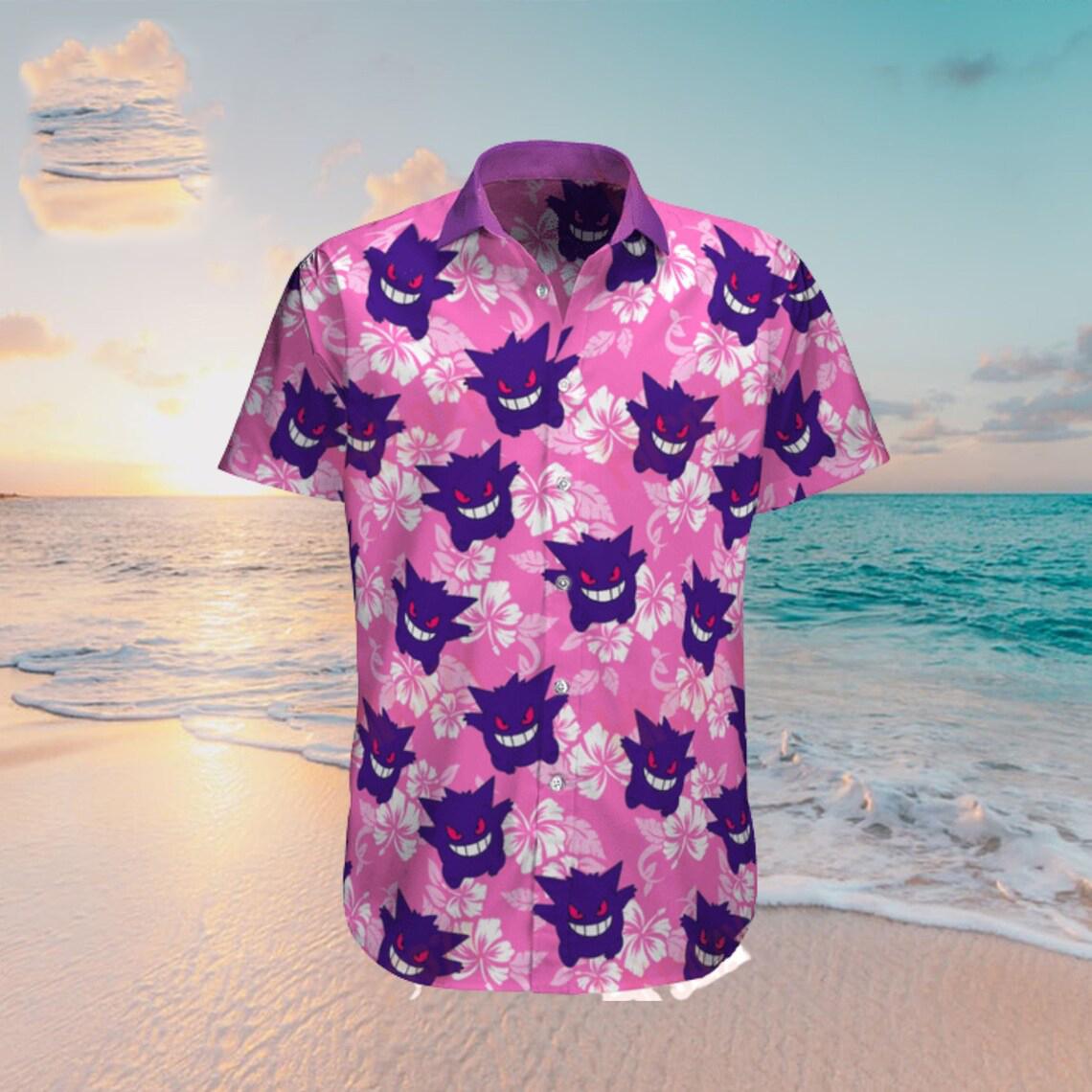 Gengar Pokemon tropical beach hawaiian shirt