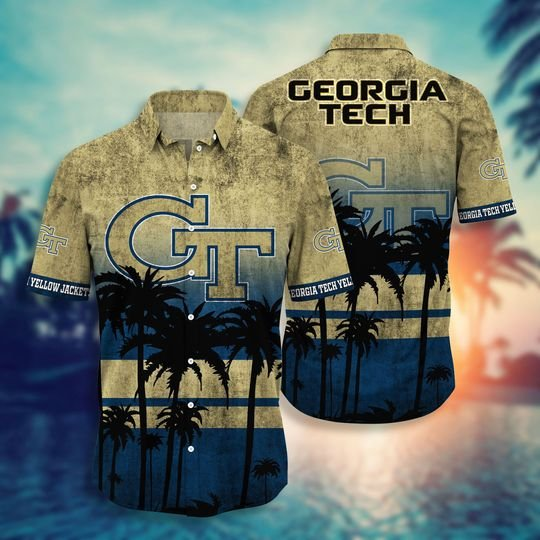 Georgia Tech Yellow Jackets Summer Hawaiian Shirt, short -BBS