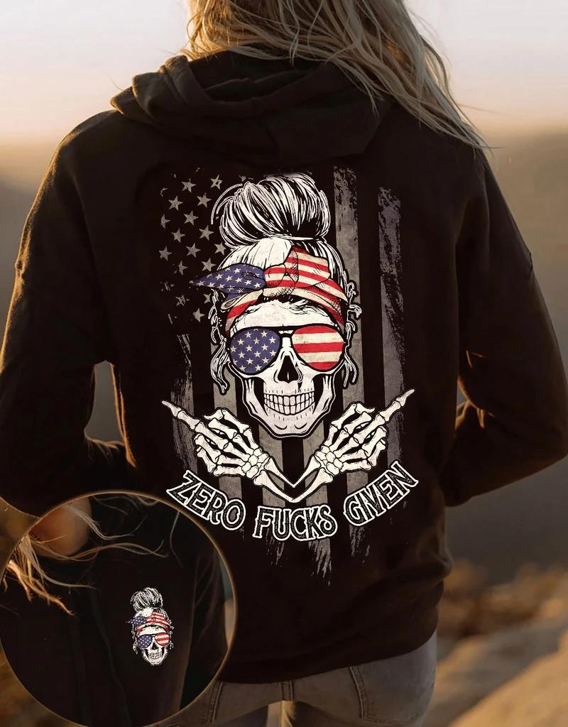 Girl Zero fucks given american 3D hoodie