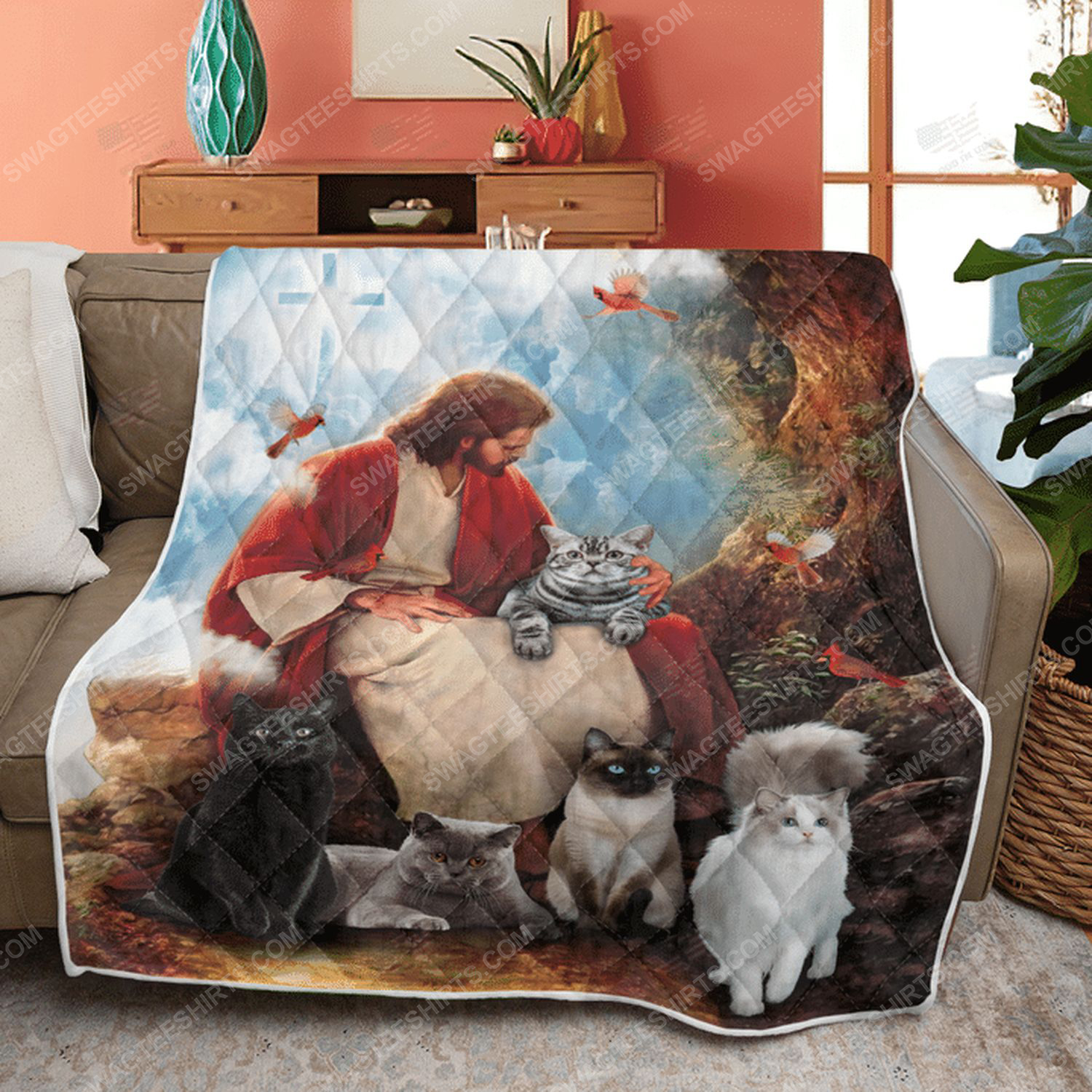 God surrounded by cats and red cardinal birds quilt 3