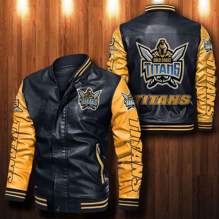 Gold Coast Titans Leather Bomber Jacket - LIMITED EDITION
