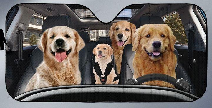 Golden Retriever Family Car Sunshade - Hothot 020921