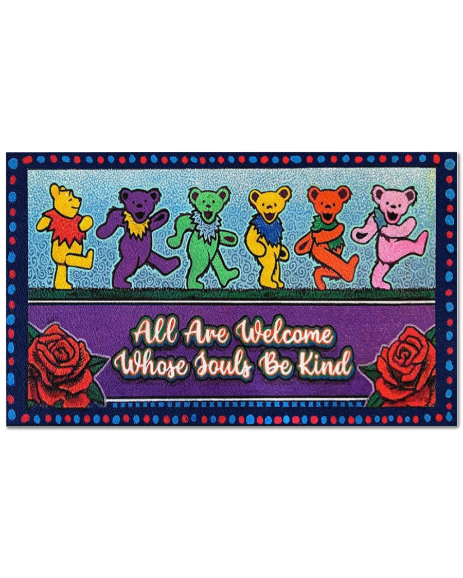 Grateful dead dancing bears all are welcome whose souls be kind doormat