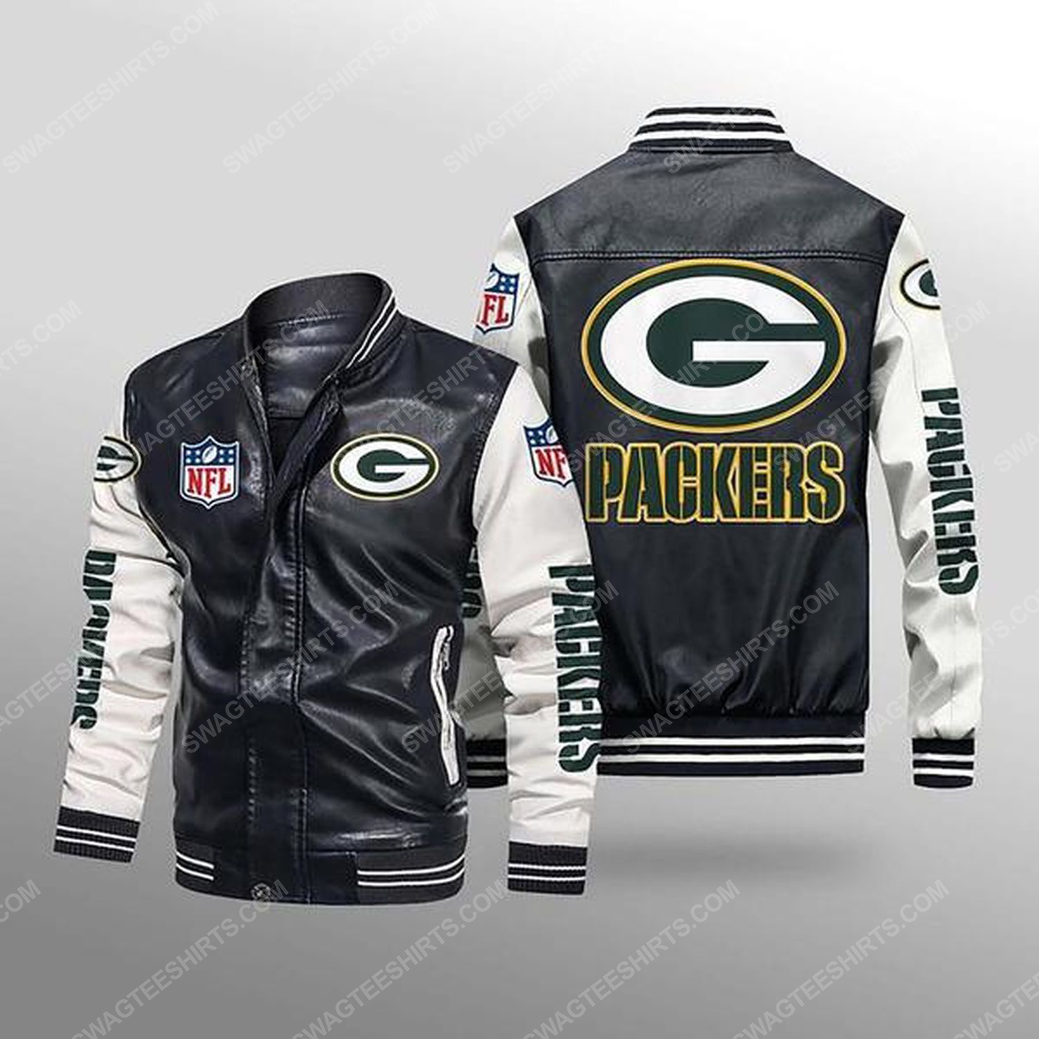 Green bay packers all over print leather bomber jacket - white