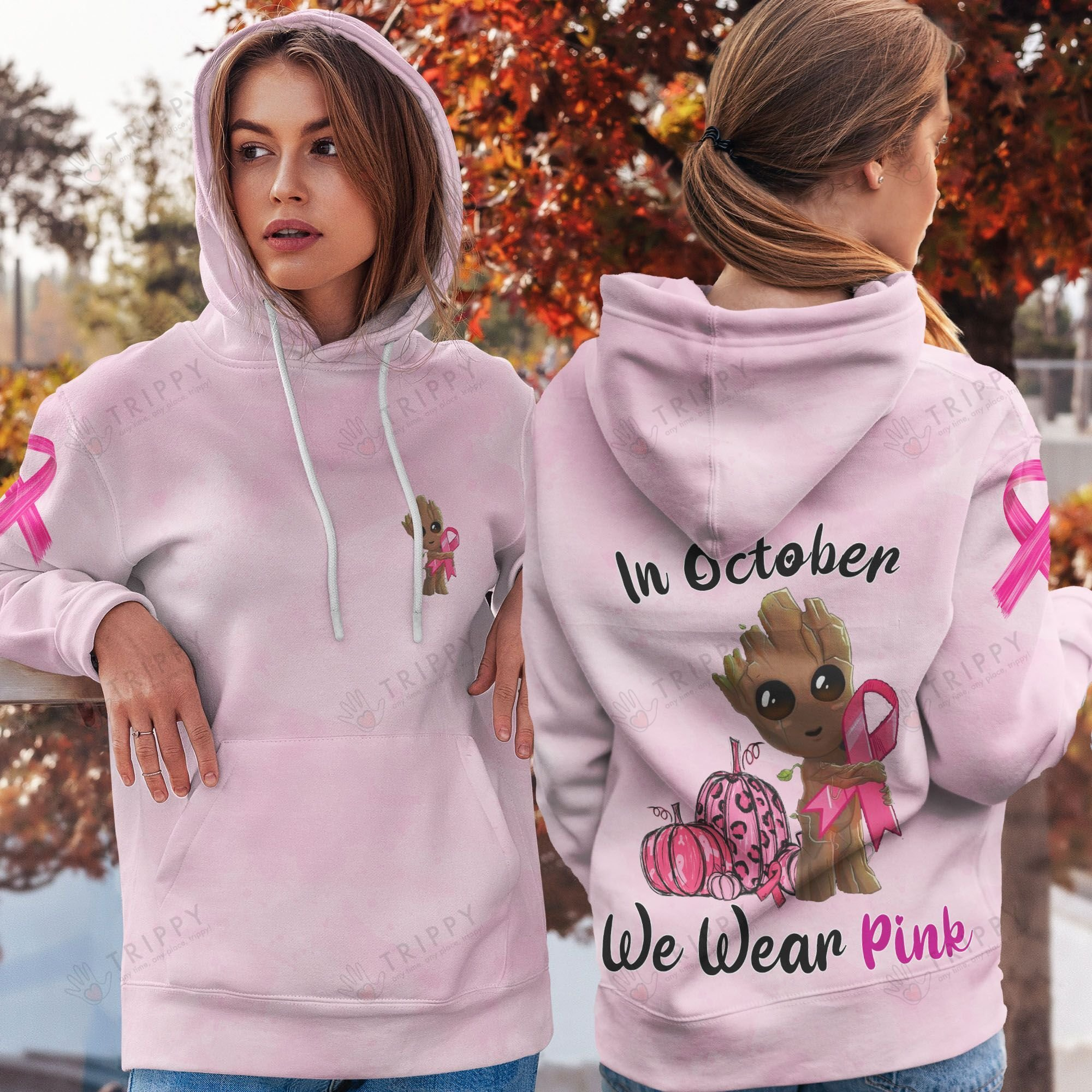Groot Breast Cancer In October we were pink 3d hoodie, shirt - LIMITED EDITION