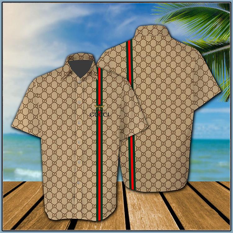 Gucci all over print hawaiian shirt, short - LIMITED EDITION
