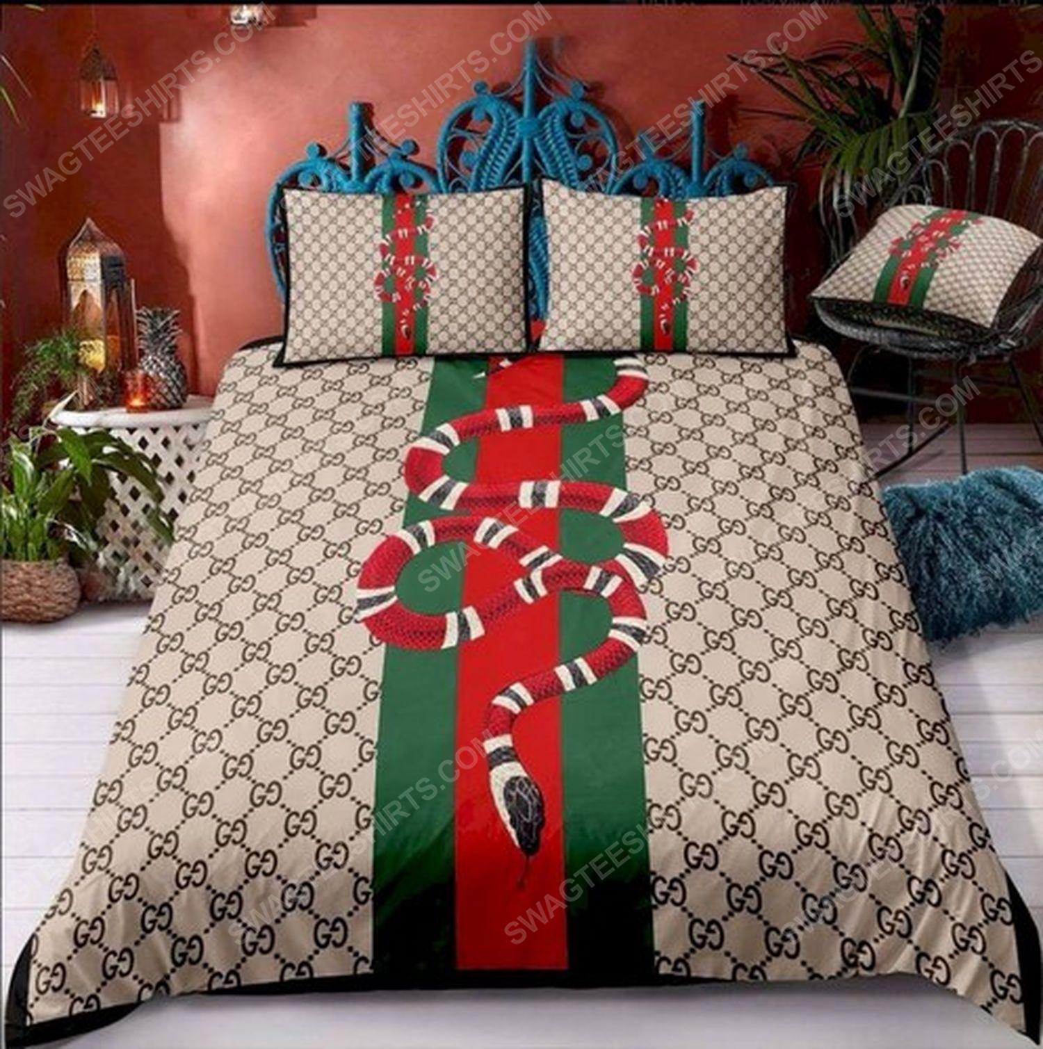 Gucci and snack symbols full print duvet cover bedding set 1