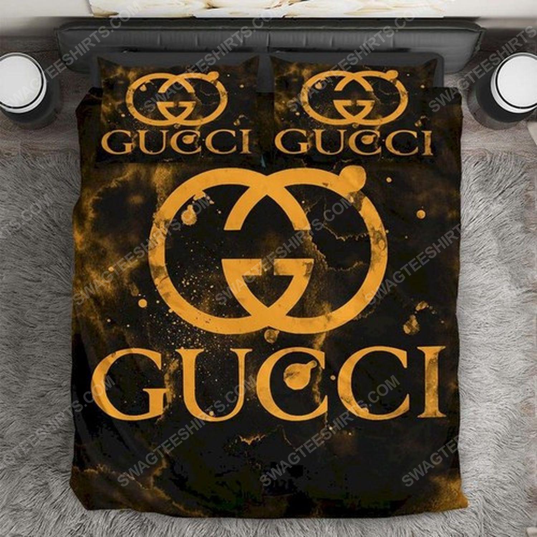 Gucci monogram gold version full print duvet cover bedding set 1