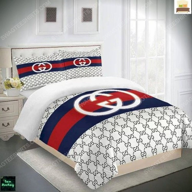 Gucci monogram symbols full print duvet cover bedding set 1