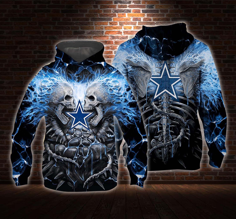 Blue electric skull dallas cowboys 3d hoodie - maria