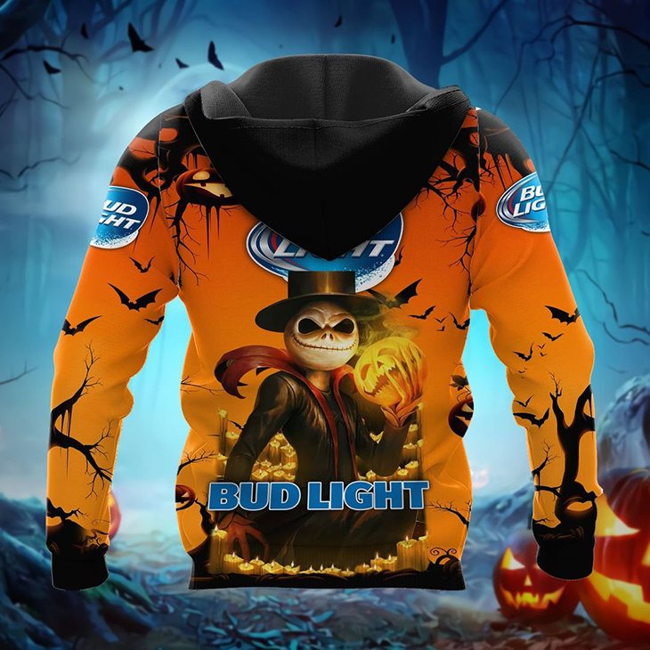 Halloween Jack Skellington Bud Light Logo 3D Hoodie, Shirt - LIMITED EDITION