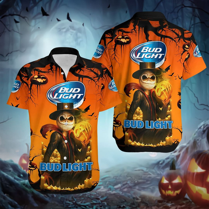 Halloween Jack Skellington Bud Light Logo Hawaiian Shirt - LIMITED EDITION