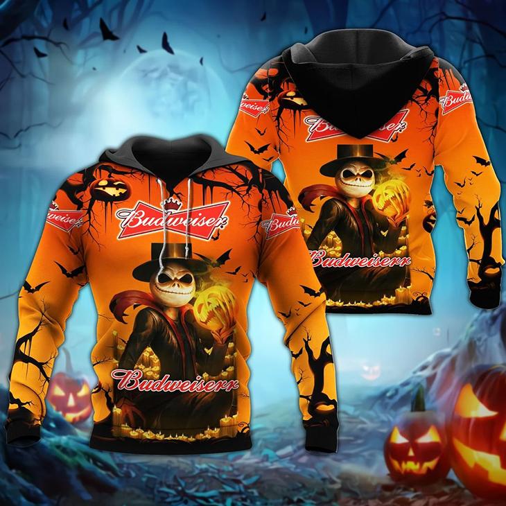Halloween Jack Skellington Budweiser Logo 3D Hoodie, Shirt - LIMITED EDITION