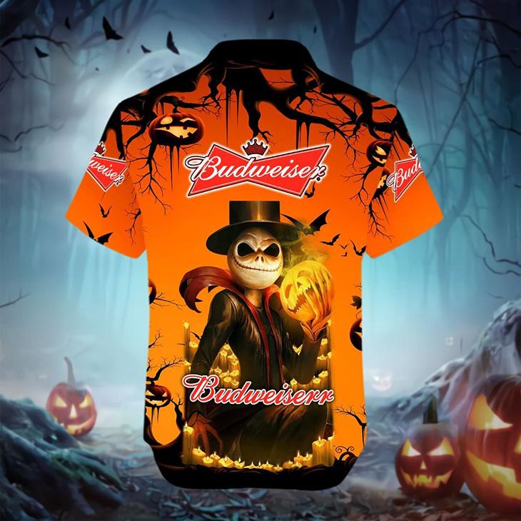 Halloween Jack Skellington Budweiser Logo HAWAIIAN SHIRT - LIMITED EDITION