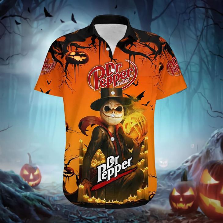 Halloween Jack Skellington Dr Pepper Est 1885 Logo Hawaiian Shirt - LIMITED EDITION