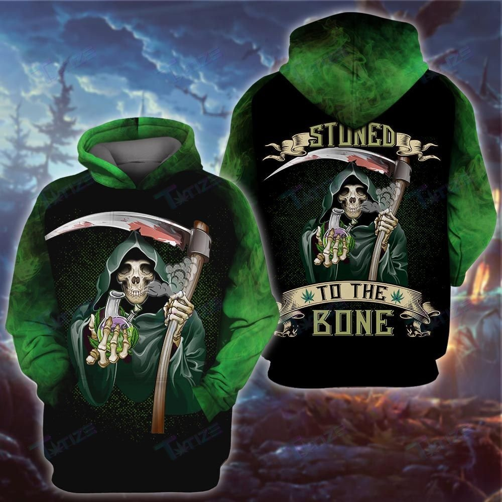 Halloween Weed Skull God of death Stuned to the bone 3d hoodie and shirt - LIMITED EDITION