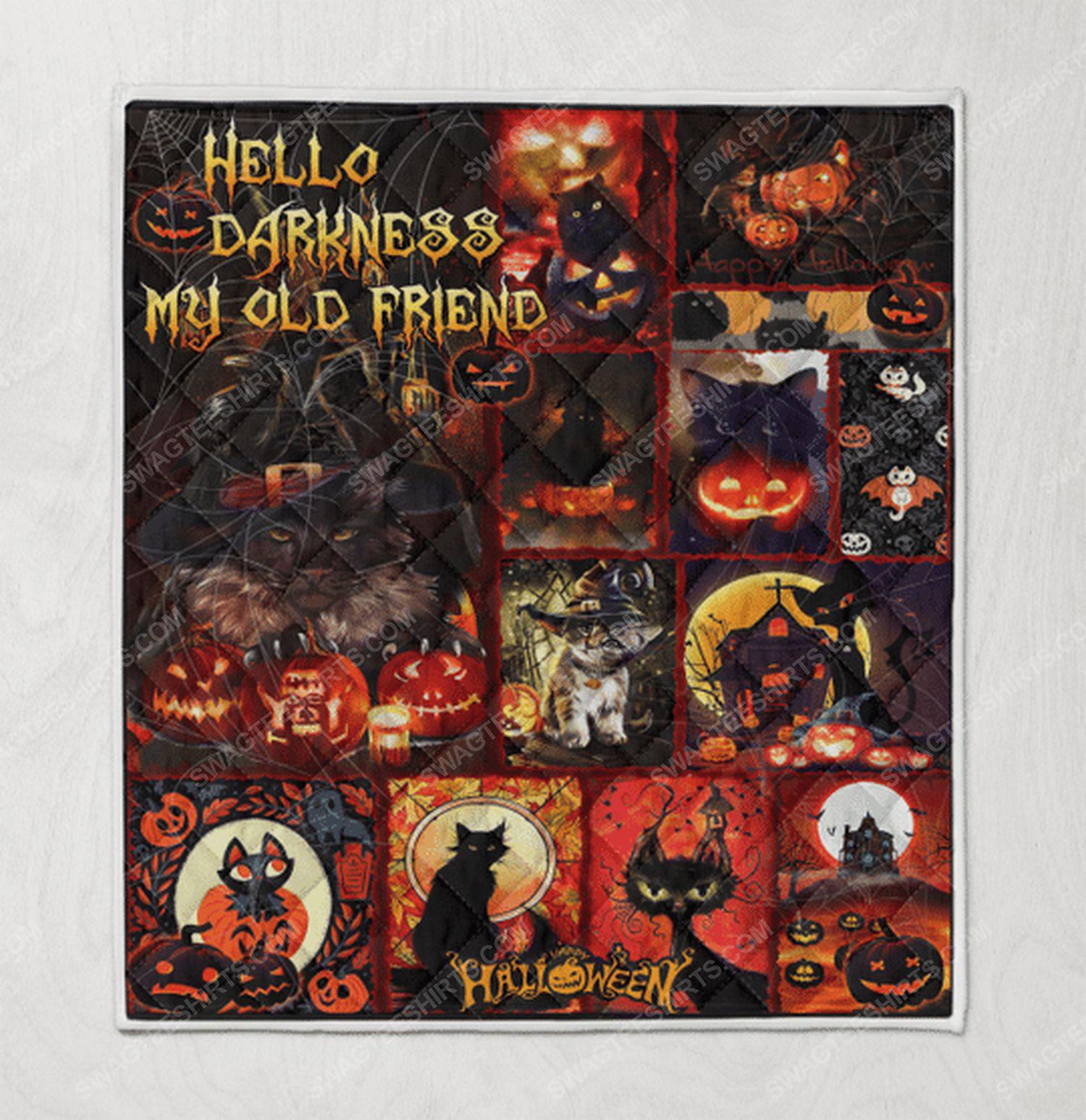 Hello darkness black cat halloween blanket 2